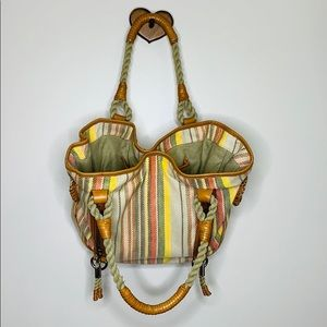 Cole Haan | Rope Handled Striped Multi Section Bag